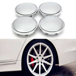 4× Chrome Wheel Center Caps Tyre Rim Hub Cap Cover Car Exterior Trim Accessories