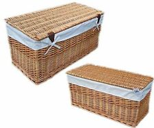 Wicker Storage Natural Toy Trunk Chest & Removeable Liner