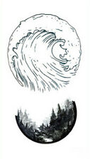 Waterproof Temporary Fake Tattoo Stickers Grey Ocean Wave Forest Design