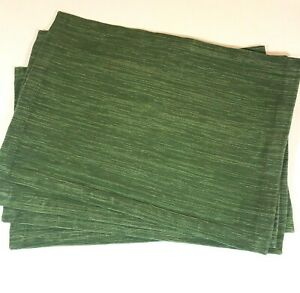 """Set 4 Crate and Barrel Placemats Forrest Green Lamont 100% Cotton 14 x 19"""" India"""