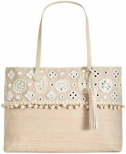 Angel By L. Martino $148 New Extra-Large Boarding Tote Natural Lily Beads Sequin
