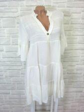 Hippie Blogger Hängerchen Kleid Tunika Volant Fransen Leinen 36 38 40 Creme K204