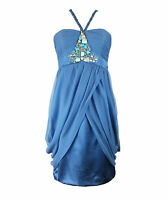 Monsoon Blue Beaded Halterneck Dress 08 UK Wedding Cruise PROM  Party XMAS