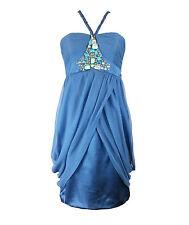Monsoon Blue Beaded Halterneck Dress 08 UK Wedding Cruise PROM  Party