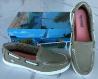 New women's Margaritaville Tahiti khaki Memory Foam Canvas Boat Shoes US Size8.5