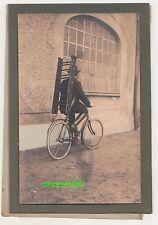 Werbe Foto Leitern Fabrik Ebersbach Sa. Fahrrad Fahrer um 1920 Werksfoto !