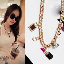 Fashion charm Women's Golden Plated Lipstick Figure Clavicle Pendant Necklace