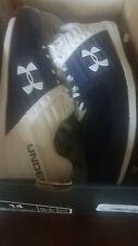 Size 14 Navy and White Under Amour Football Cleats Shoes