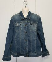 Eddie Bauer - Women's XL Jean Jacket Denim Blue Pockets Collar Long Sleeve