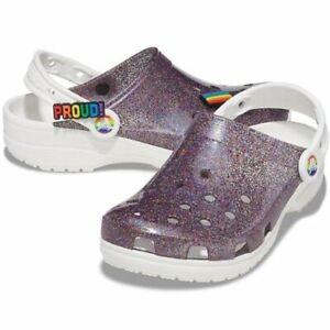 Crocs Classic Translucent Glitter Pride Clog (11M)