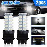 2Pcs White 3157 60smd DRL 3157A 4114 4157NA Daytime Running LED Light Bulbs 12V