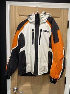 Descente Black/White Ski Jacket Sz M. Waterproof, Zippers Work, Sleeves Remove