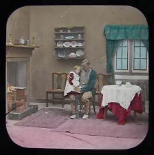 CRACKED Glass Magic Lantern Slide DADDY NO2 C1890 VICTORIAN TALE SOCIAL HISTORY