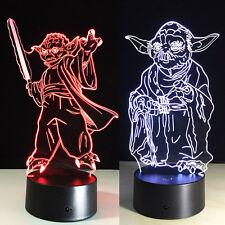 3D Nuit Lumière Lampe Acrylique Coloré Star Wars Master Yoda Cadeau Stationnaire