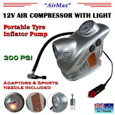 12V CAR TYRE INFLATOR WITH LIGHT-AIR COMPRESSOR PUMP-PORTABLE-BIKE-CAMPING