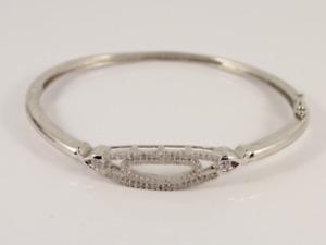 Diamond Cluster Bangle Sterling Silver Ladies Bracelet 925 13.6g Ka46