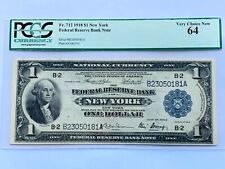 1918 $1 FRBN New York  -  PCGS 64 Very Choice New - Fr. 712 Consecutive 1 of 2