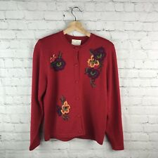 Susan Bristol Sweater Cardigan Florao Multiclor Embroidered Long Sleece Vtg 90's