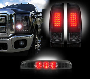 2011-2014 Ford Super Duty Smoked LED Headlights Tail Lights Third Brake Light