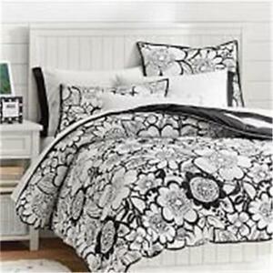 NEW Pottery Barn Teen Blooming Garden Pouf Quilt Comforter & Sham TWIN XL BLACK