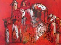 rote Toscana  Acrylbild Collage 70x50 LW Sonja Zeltner-Müller