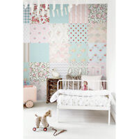 Patchwork Nursery removable wallpaper Wall mural Kids Baby room Vintage style