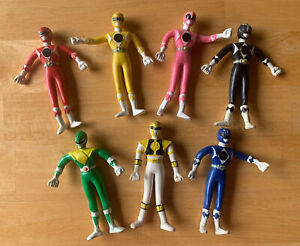 """Rare 1990s Mighty Morphine Power Rangers Rubber Wired 5"""" Action Figure Lot Of 7"""