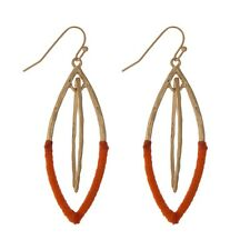 Gold Tone Dangle Earrings with Red Thread Accents