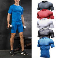 Men's Compression Top T-shirt Shorts Running Workout Fitness Gym Tights Wicking