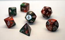 Dungeons & Dragons Fantasy 16mm 7 Piece Dice Set: Gemini Green/Red 26431