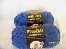 2 sk Lot Lion Brand Wool Ease BLUE HEATHER 3 oz sk Acrylic/Wool Bld Worst Wt #4