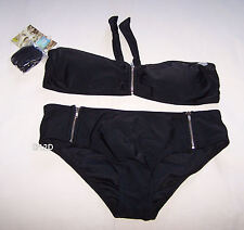 Rip Curl Ladies Nancy Bandeau Black 2 Piece Bikini Bathers Swimsuit Size 12 New