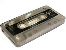 iPHONE 4 4G 4S - Hard Silicone Flex Gel Cassette Tape Case Cover GREY / BLACK