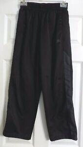 Boy's Black Starter Pull On Pants Joggers Size L 10-12 Elastic Waist Gray Stripe