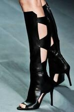 Black US Sz High Stiletto Open Toe Knee High Boot Gladiator Party Leather Sandal