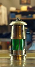 "6"" Antique Vintage Style Brass Nautical Miner Ship Lantern Oil Lamp green Glass"