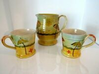 PITCHER & CUPS /MUGS BEACH  HAND PAINTED IN ITALY Set of 3