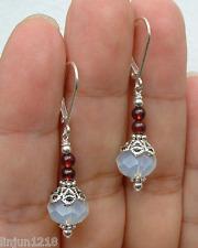 Beautiful Handmade Natural Moonstone&Ruby Gemstone Dangle/Drop Earrings