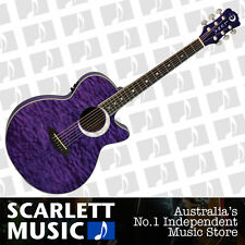 Luna Guitars FAUECLTPP Fauna Eclipse Trans Purple Acoustic-Electric Guitar.