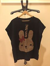 Women Black Cartoon Bunny Loose Cotton Batwing Sleeve T-Shirt Summer Blouse Tops
