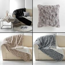 Eskimo Supersoft Faux Fur Throw Blanket Cushion with Sherpa Backing - 3 Colours