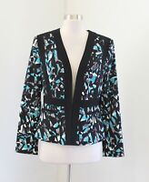 Kasper Black Blue Gray Abstract Colorblock Blazer Jacket Size 8 Collarless