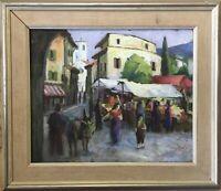 Pastell Stadtansicht mit Personen expressiv Markt Esel Sandström signiert 1951