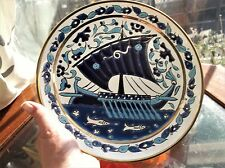 SUPERB GILDED DISPLAY PLATE HANDPAINTED BOLD SAILING SHIP FISH DESIGN RICH BLUES
