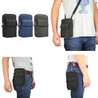 Mens Belt Pouch Clip Strap Dual Phone Bag Travel Holster Case For Iphone Samsung
