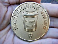 Vtg DANNON YOGURT Belt Buckle DAIRY Employee Award Activia Evian Brass RARE VG++