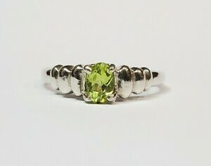 Cute Little Sterling Silver and Peridot Ring Size 7 3/4