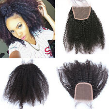 """Afro kinky curly Brazilian remy human hair 4*4"""" top lace closure for black women"""