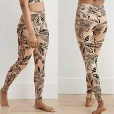 NWT Aerie Tan Palm Frond Medium Support 7/8 Athletic Leggings Medium High Rise