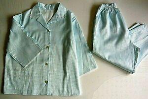 Damen Schlafanzug Vintage Damen Pyjama Set aus Flanell  Satin Effekt Gr.42 neu